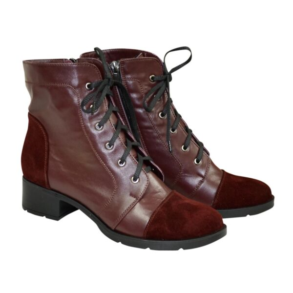 Ботинки бордовые женские кожаные зимние на устойчивом каблуке, декорированы замшевыми вставками