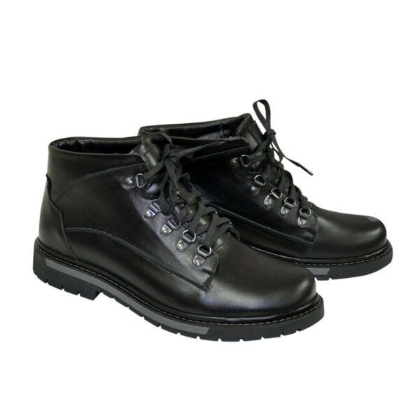 Ботинки зимние черные кожаные мужские на шнуровке
