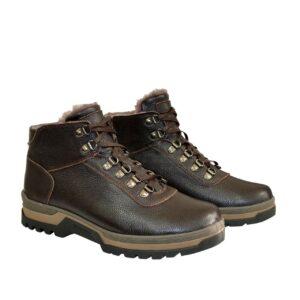 Ботинки мужские на шнуровке, натуральная кожа флотар коричневого цвета