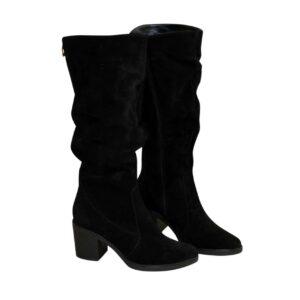 Сапоги женские зима осень на устойчивом каблуке, натуральная черная замша