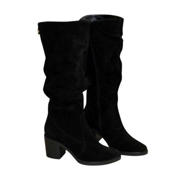 Сапоги женские демисезонные на устойчивом каблуке, натуральная черная замша