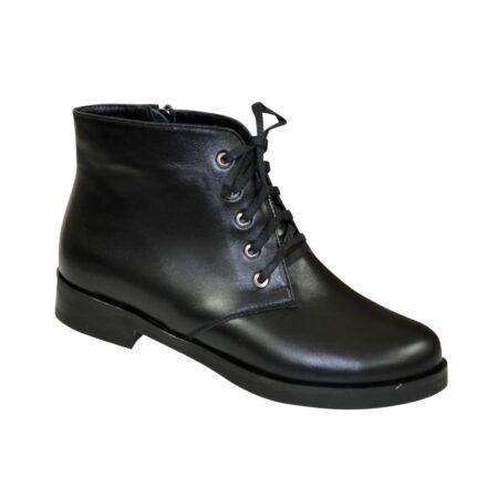 Женские ботинки на шнуровке из натуральной черной кожи, зима осень