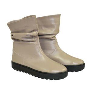 Ботинки женские свободного обувания кожаные зима осень, на утолщенной подошве