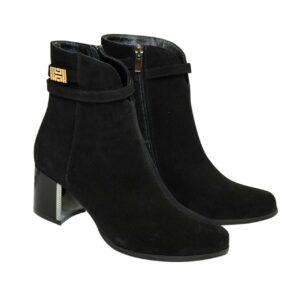 Ботинки женские из натуральной замши черного цвета на невысоком каблуке, демисезон-зима