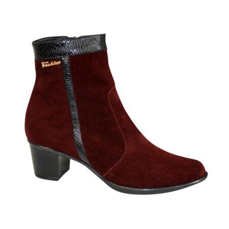 женские ботинки замшевые цвета бордо на удобном невысоком каблуке/зима -осень