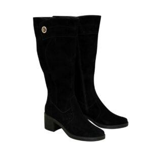 Женские черные замшевые сапоги на устойчивом каблуке, батал
