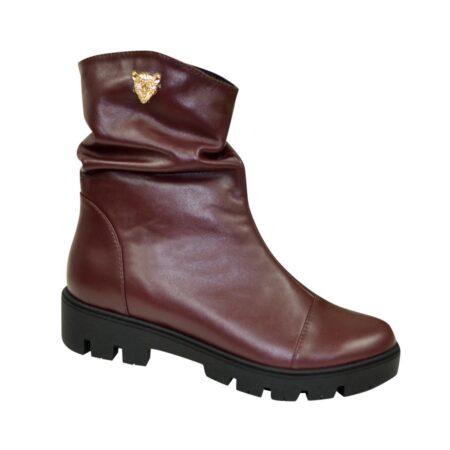Ботинки женские кожаные бордовые зима осень, на тракторной подошве