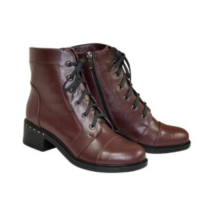 Ботинки женские кожаные бордовые зима осень, на невысоком каблуке