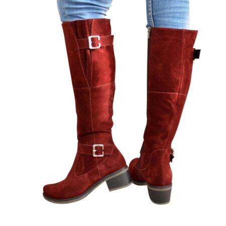 Сапоги ботфорты женские из натуральной замши бордового цвета, на небольшом каблуке