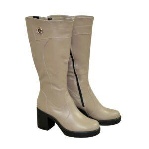 Сапоги женские кожаные на устойчивом каблуке цвет визон, батал