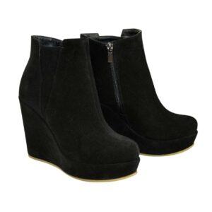 ботинки женские замшевые зима-осень на платформе, цвет черный