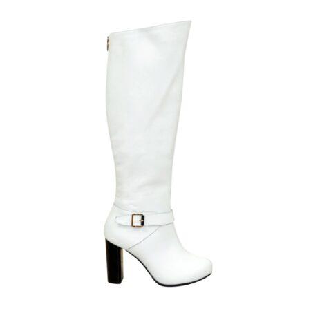 Кожаные белые ботфорты из натуральной кожи, на устойчивом каблуке