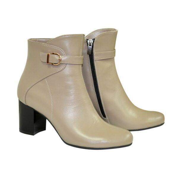 Женские кожаные демисезонные ботинки на невысоком каблуке, цвет визон