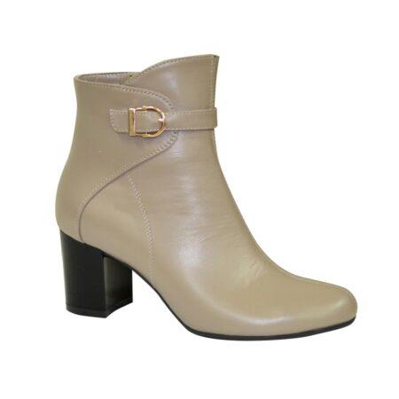 ботинки женские зима осень на невысоком устойчивом каблуке из натуральной кожи цвет визон