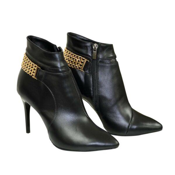 Ботинки кожаные женские демисезонные на шпильке, декорированы цепью