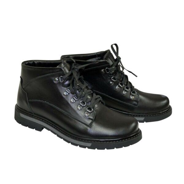 Ботинки мужские на шнуровке, натуральная кожа черного цвета