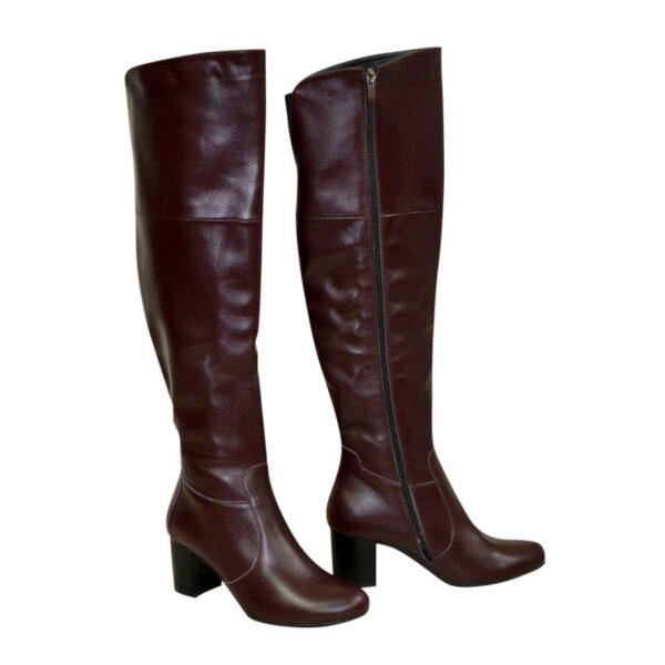 Ботфорты зимние кожаные на устойчивом каблуке, цвет бордо