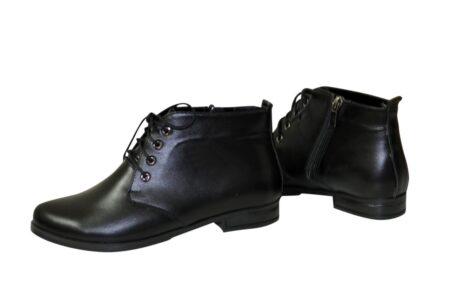 Женские ботинки кожаные черные осень зима на шнуровке, низкий ход