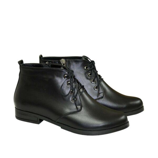 Зимние женские ботинки кожаные на шнуровке