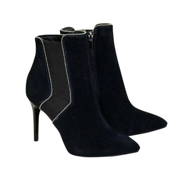 Ботинки замшевые женские демисезонные на шпильке, цвет синий