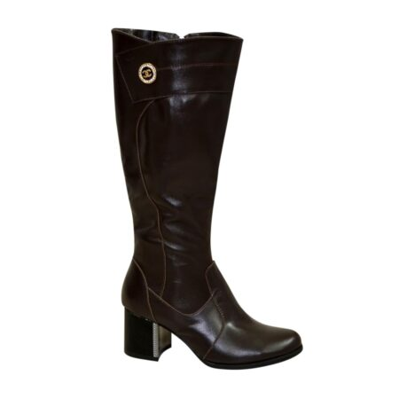 Сапоги женские на невысоком устойчивом каблуке, натуральная кожа коричневого цвета