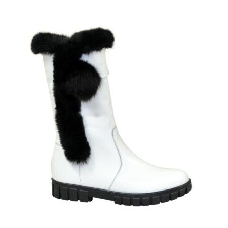 Полусапоги подростковые кожаные для девочек, на утолщённой подошве, цвет белый