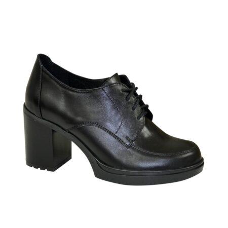 Женские кожаные черные туфли на устойчивом каблуке