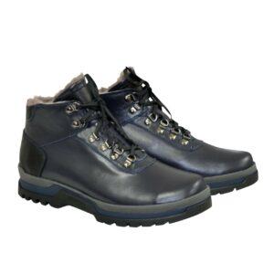 Ботинки мужские на шнуровке, натуральная синяя кожа