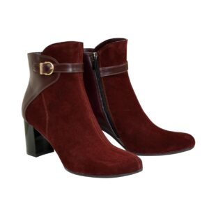 Женские ботинки осень зима замшевые на широком устойчивом каблуке, цвет бордо