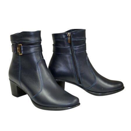 Ботинки женские классические из натуральной кожи синего цвета на невысоком каблуке,демисезон-зима