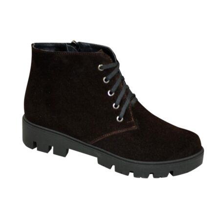 Ботинки женские замшевые коричневые зима осень тракторная подошва, на шнуровке