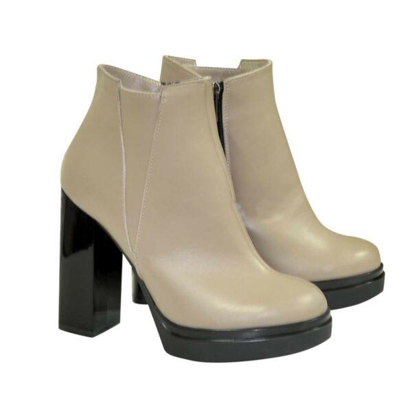 Ботинки кожаные демисезонные женские на устойчивом каблуке, цвет визон