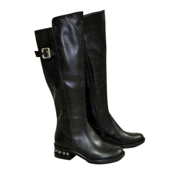Сапоги женские демисезонные на невысоком устойчивом каблуке, натуральная черная кожа