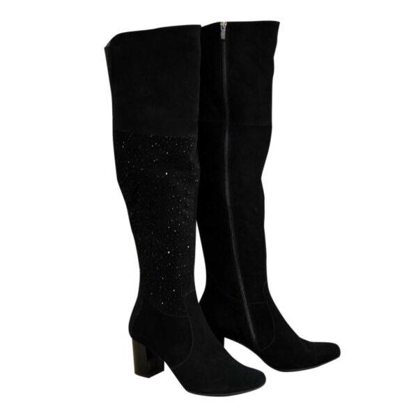 Ботфорты черные зимние замшевые на устойчивом каблуке