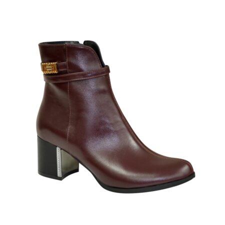 Женские ботинки из натуральной кожи бордового цвета на невысоком каблуке,демисезон-зима