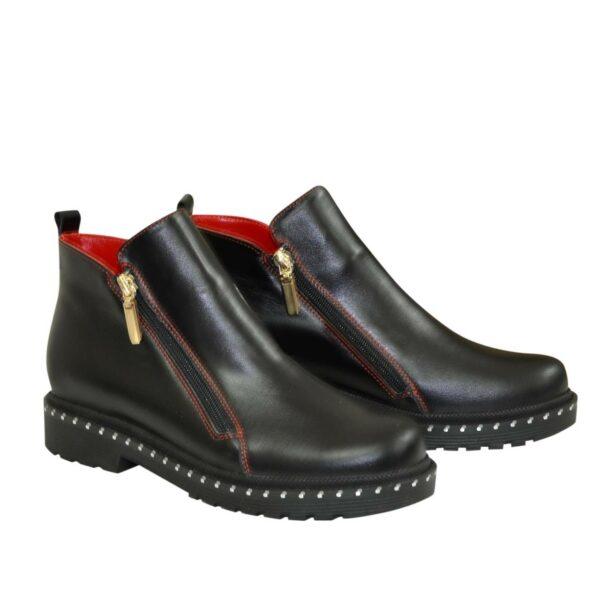 Ботинки женские кожаные демисезонные на маленьком каблуке