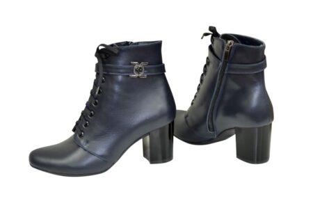 кожаные женские ботильоны на устойчивом каблуке,цвет синий/ демисезон-зима