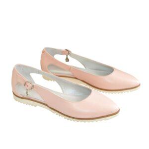 Женские кожаные туфли-балетки с острым носочком на мини каблучке, цвет пудра