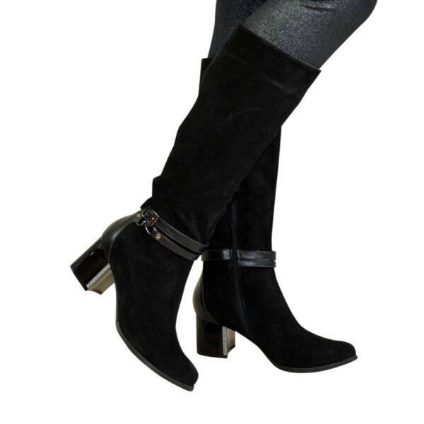 Сапоги женские зимние черные на устойчивом каблуке, натуральная замша и кожа