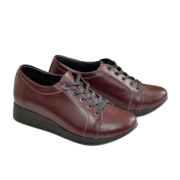 Кроссовки женские кожаные на утолщенной подошве, цвет бордо