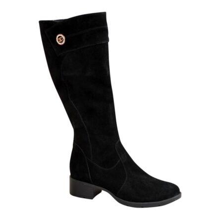 Сапоги женские зима осень замшевые на невысоком каблуке, цвет-черный. Батал