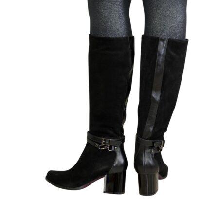 Сапоги осень зима на невысоком устойчивом каблуке, натуральная черная кожа и замша