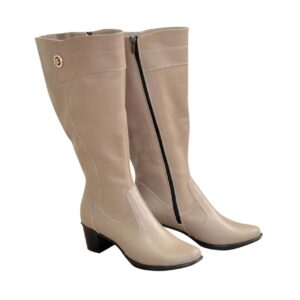 Сапоги женские кожаные баталы на невысоком каблуке, зима осень цвет визон