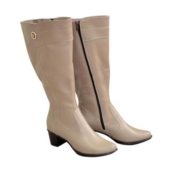 Сапоги женские кожаные на невысоком каблуке, цвет визон