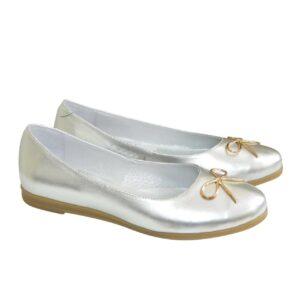 Женские туфли-балетки из натуральной кожи, цвет серебро