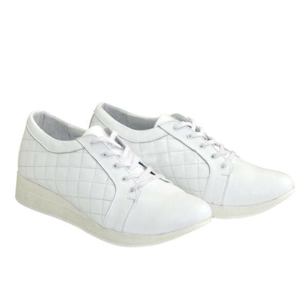 Кроссовки женские кожаные на утолщенной подошве, цвет белый