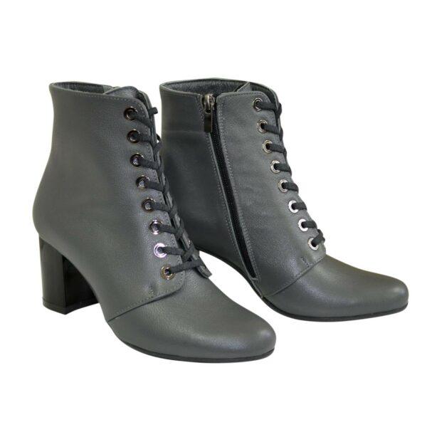 Ботинки женские кожаные демисезонные на устойчивом каблуке, цвет серый