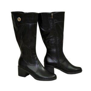 Женские черные кожаные сапоги на устойчивом каблуке, батал