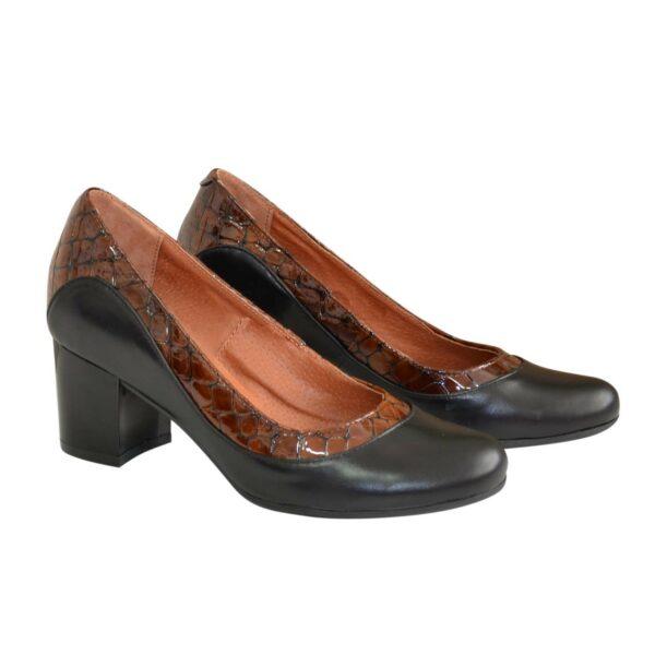 Туфли женские на невысоком устойчивом каблуке, натуральные кожа и лаковая кожа крокодил