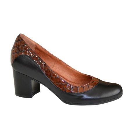 """Женские туфли из натуральной кожи на широком устойчивом каблуке, с лаковыми вставками кожей """"крокодил""""/ цвет коричневый"""